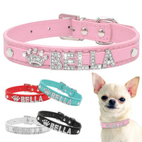 Bling Rhinestone Puppy Dog Collars - Free Name Charms