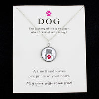 Dogs Paw Live Life Rescue Footprints Silver Pendants Chain Necklaces