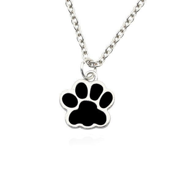 Dog Paw Footprint Love Heart Pendant Necklace