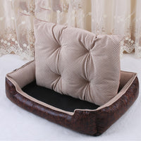 Luxury Leather Dog Beds Waterproof Cozy Pet Dog Basket