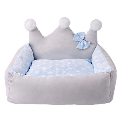 Dog bed Crown Shape with bow winter dog nest