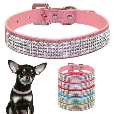Bling Rhinestone PU Leather Crystal Diamond Puppy Collar Pet Dog Collars Pink
