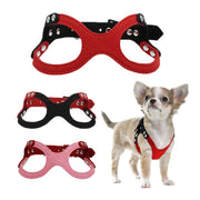 Soft Leather Small Pet dogs collars and harnesses Pink Red