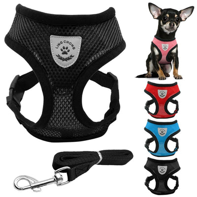 Breathable Dog Pet Harness and Leash Set Air Nylon Mesh