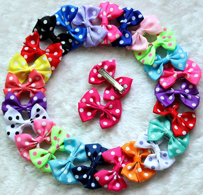 10pcs Mixed Color Pet Dog Puppy Cat Hair Clips Big Polka Dots