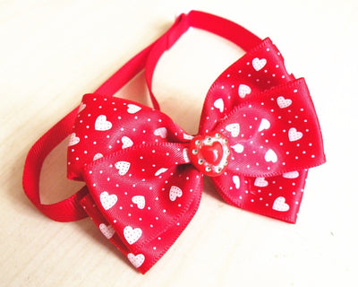 Heart Ribbon Dog Bow Ties Holiday