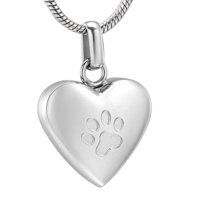 Pet Paw Print Heart Memorial Urn Pendant Necklace