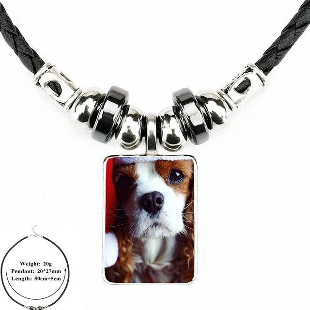 Cavalier King Charles Spaniel Dog Puppy Puppies Vintage Black Leather Bead Pendant
