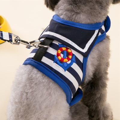 Blue Stripe Dog Harness Set  Dog Leash Lead