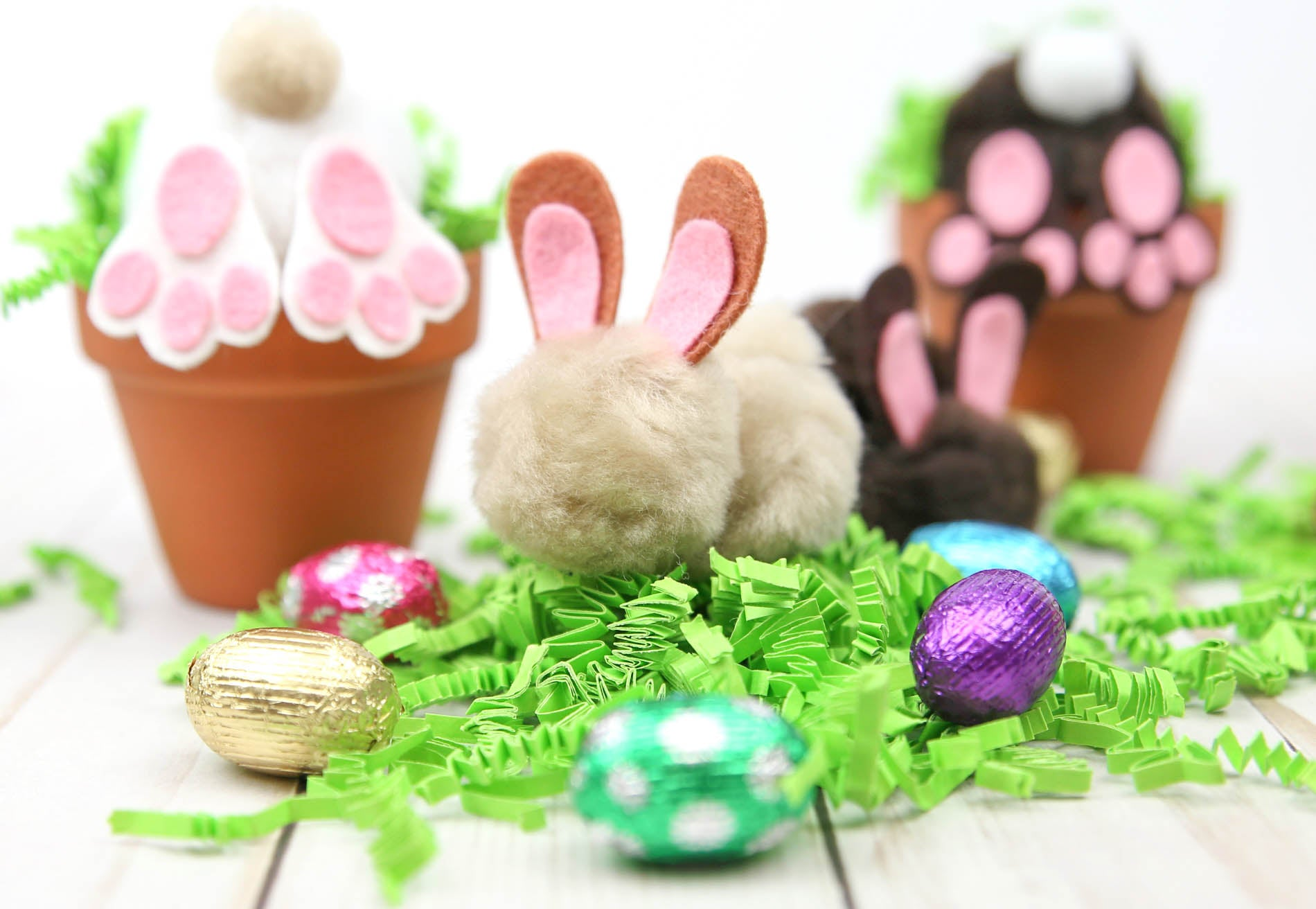 2-in-1 Easter DIY - Curious Easter Bunny Pots and Pom-Pom Bunnies