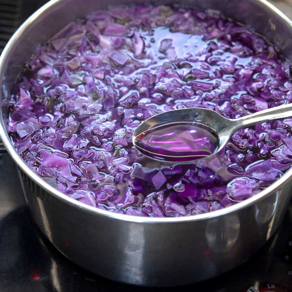 A close up of a stainless steel pot filled with chopped red cabbage and water. There is a spoon filled with the water from the pot in the foreground. The water in the spoon is a pinkish-purple.