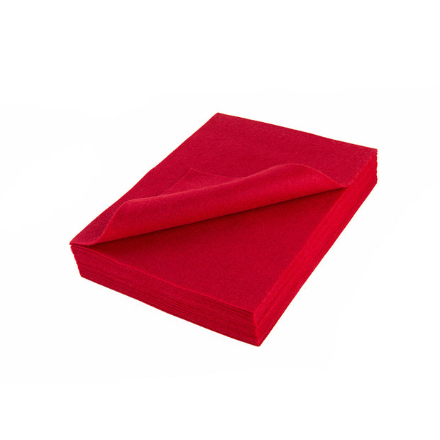 "Acrylic Craft Felt Sheets - 9"" Wide x 12"" Long, Red"