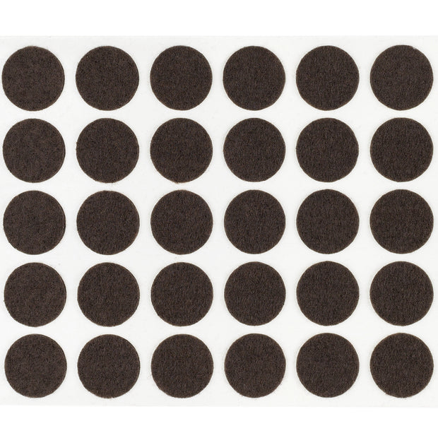 "1"" Diameter Light Duty Felt Pads By Roll - Brown"