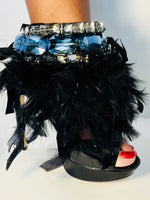 BOSSY - SIGNATURE LABEL - Noir Fluffy Feather/Antique & Sky Crystals