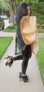 BOSSY- SIGNATURE LABEL - Noir Fluffy Feather/Antique & Sky Crystals