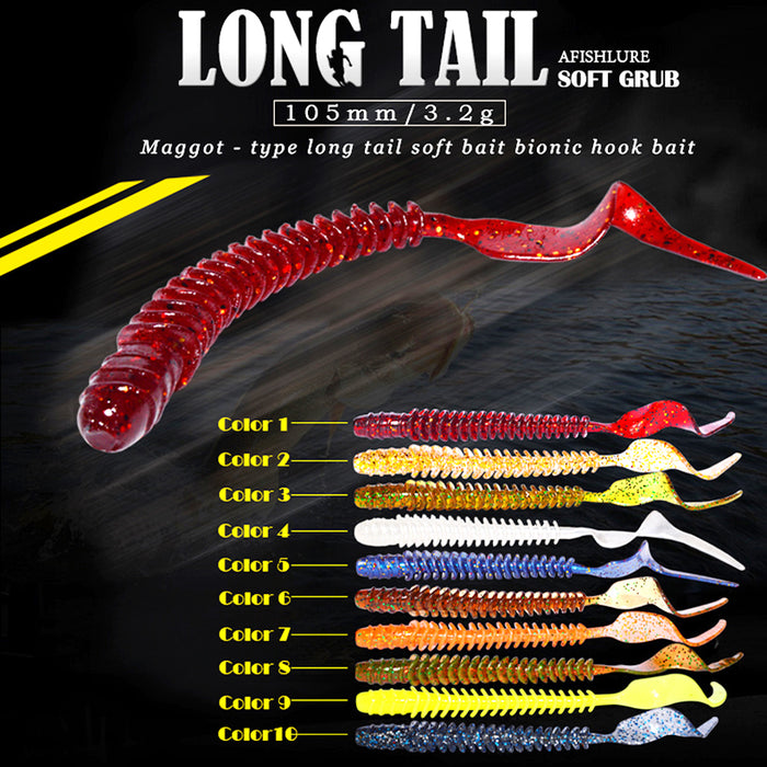 8pcs Long Tail Grubs