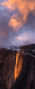Alpenglow clouds over Horsetail Falls