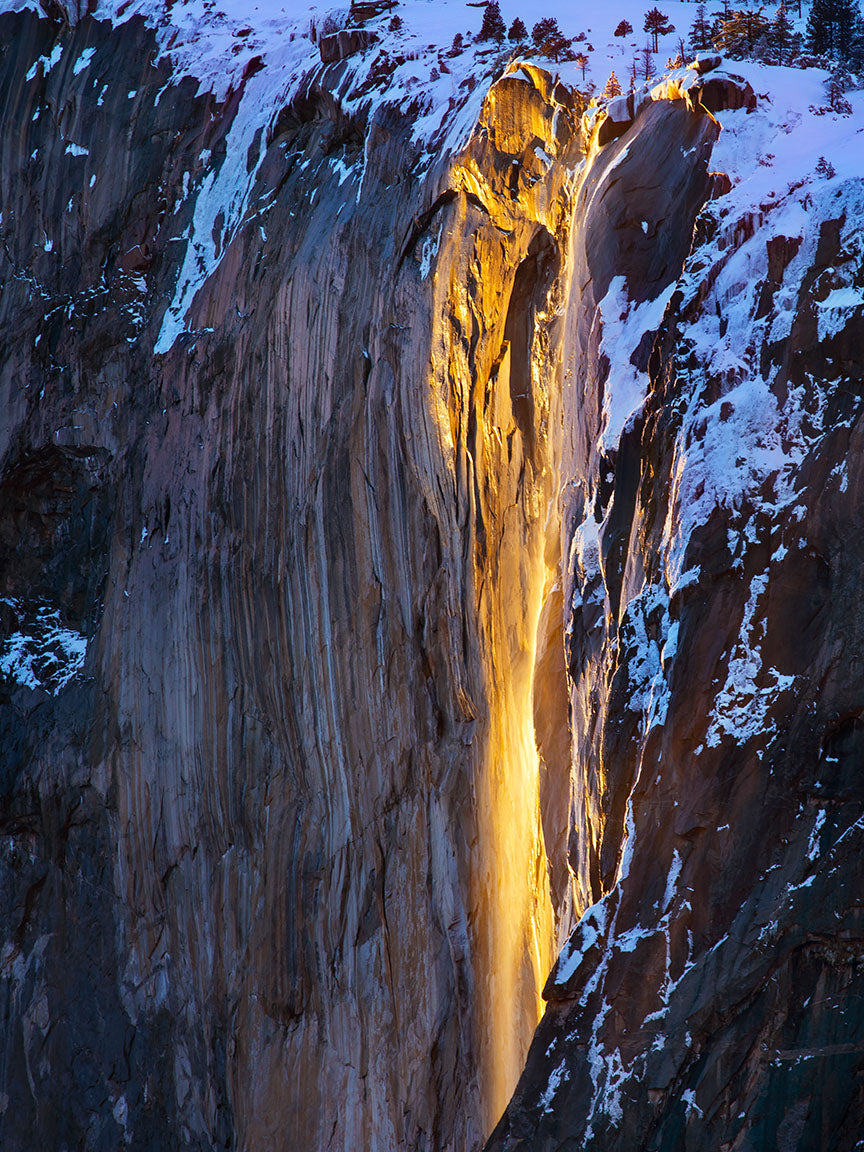 Wintery Light Horsetail Fall