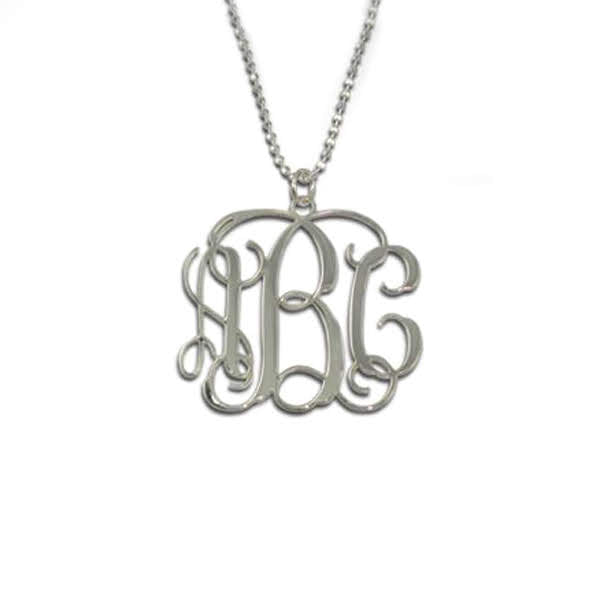 Sterling Silver Fancy Monogram Necklace