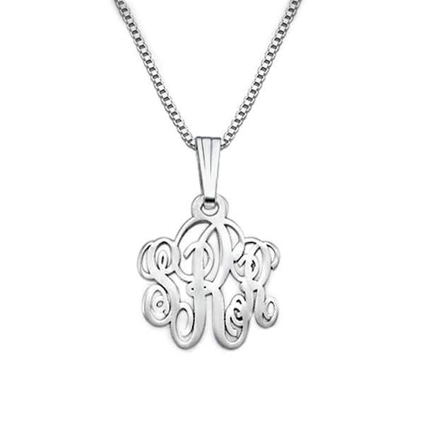 Sterling Silver Curly-Monogram Necklace