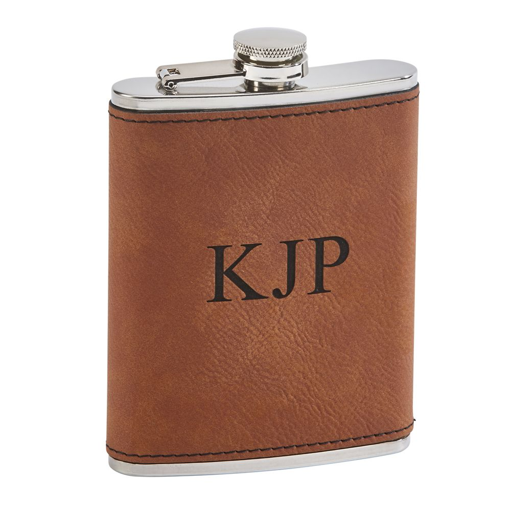 Leatherette Flask 8 Oz Cap (Grey Or Caramel)