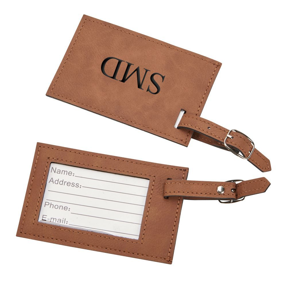 Leatherette Luggage Tag (Caramel or Grey)