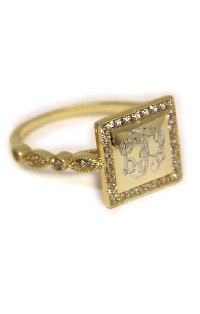 Gold Square Sterling Silver CZ Ring