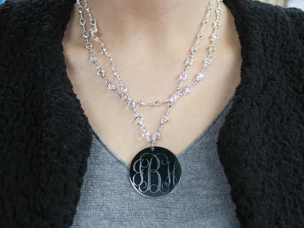 Layered Crystal Beaded Necklace with Engravable Stainless Steel Disc