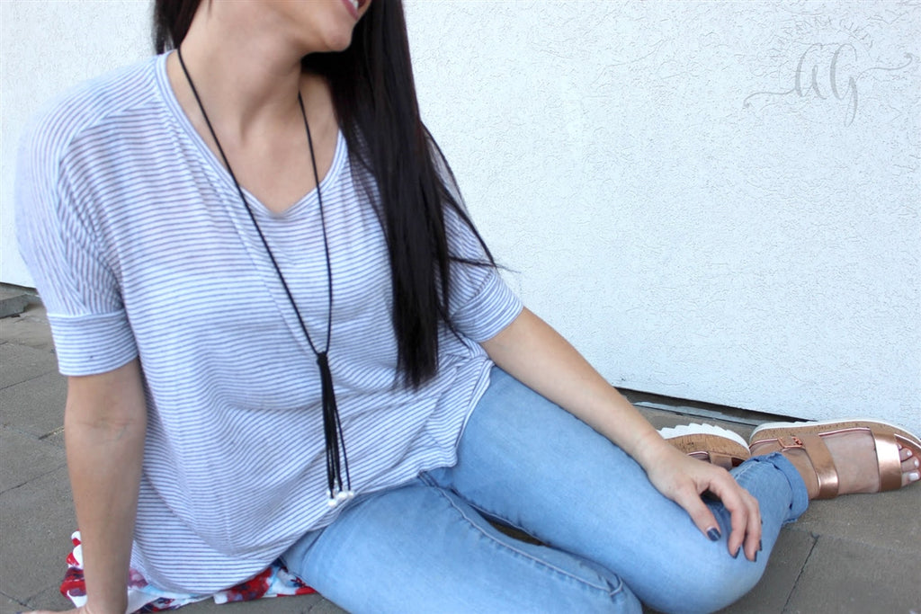 Trendy Pearl & Suede Tassel  Necklace