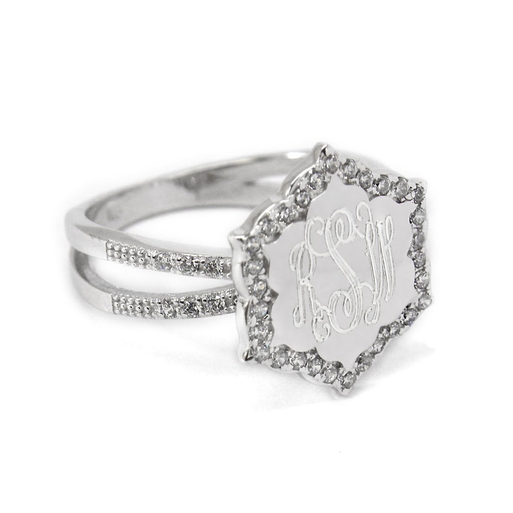 Sterling Silver Engravable CZ Hexagon Ring
