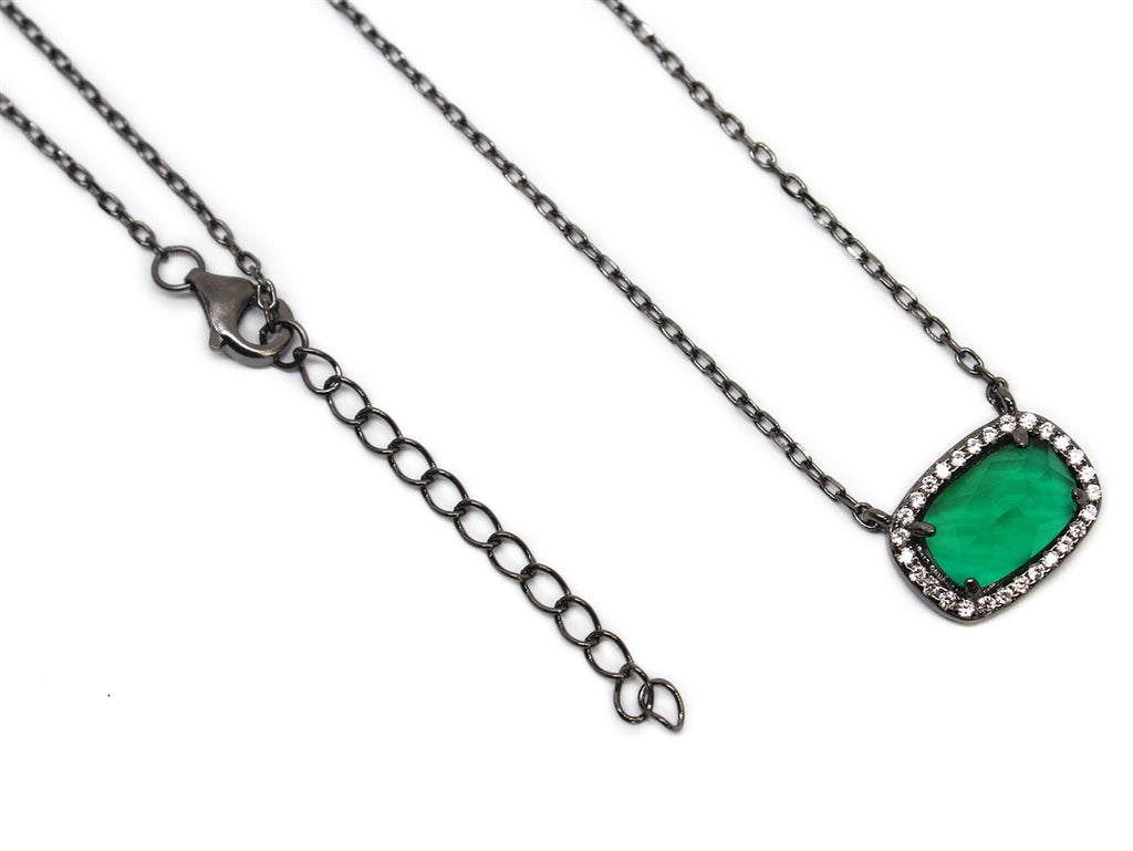 Sterling Silver Green Gemstone Necklace - Allyanna Gifts