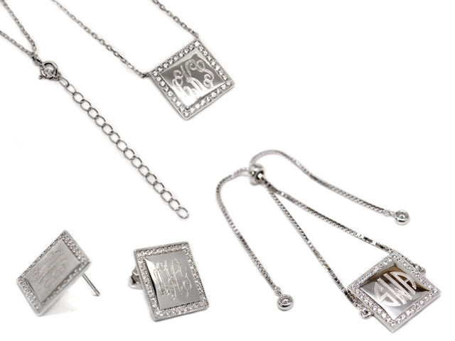 Sterling Silver Square Engravable CZ Necklace, Bracelet, and Earrings Set