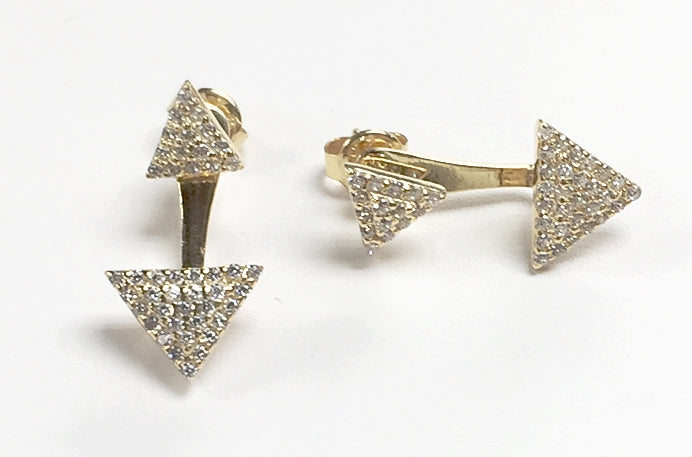Sterling Silver Gold Triangle CZ Stone Double Sided Earrings