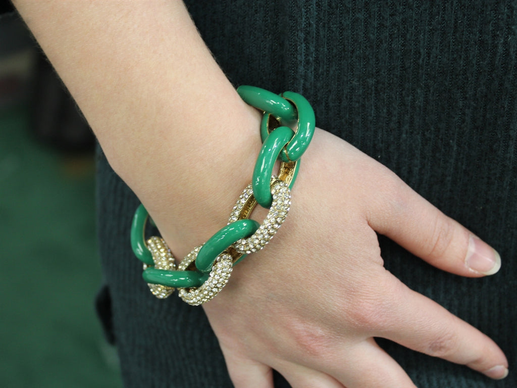 Designer Inspired Dark Green Large Gold Pave Bracelet - Allyanna Gifts