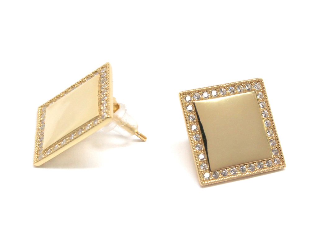 Sterling Silver Square Engravable CZ Earrings