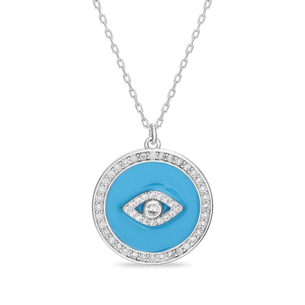Sterling Silver Enamel & Multi Color CZ Evil Eye W/ CZ Border Disc Necklace