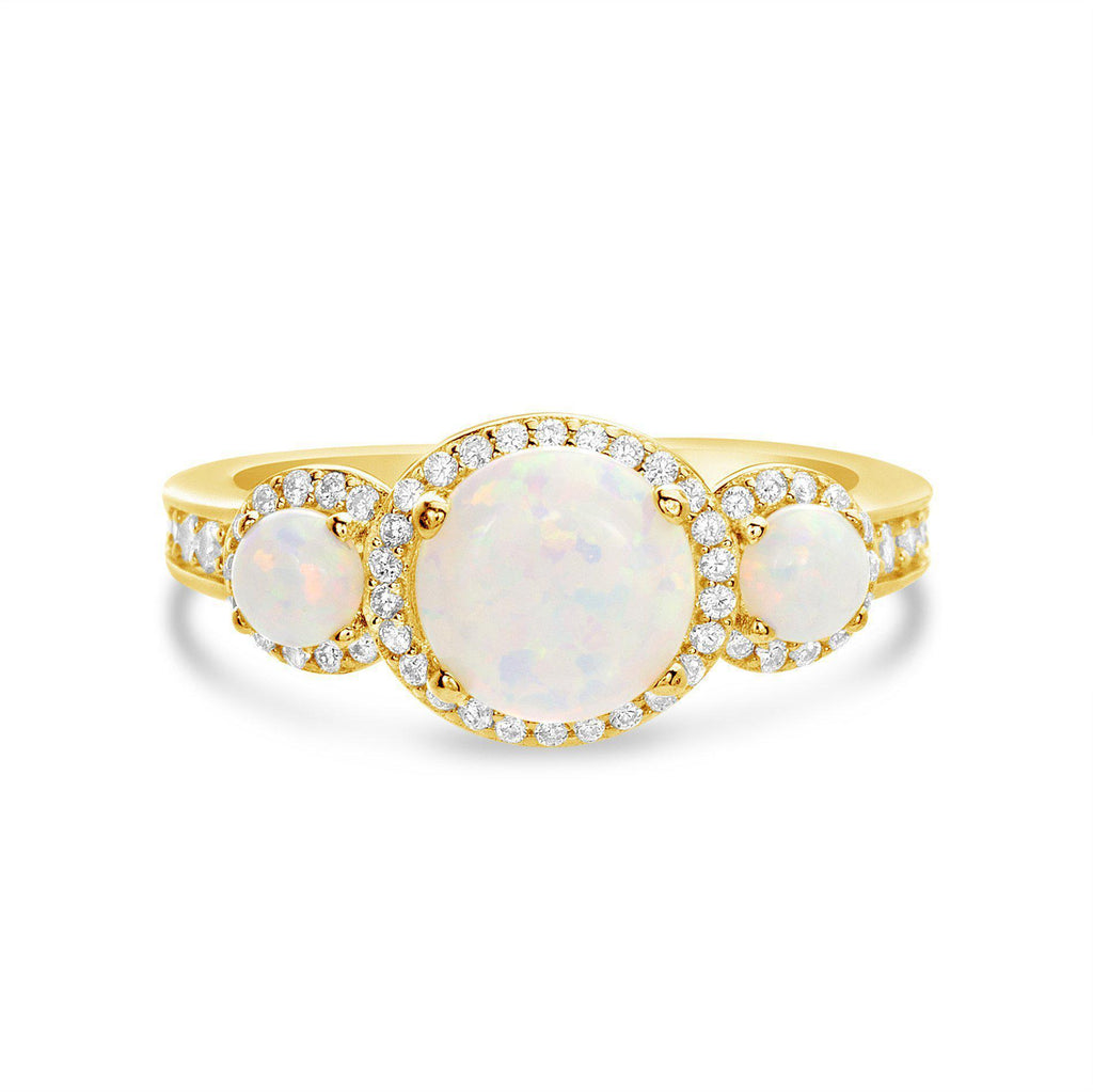 Gold White Opal CZ Halo Ring