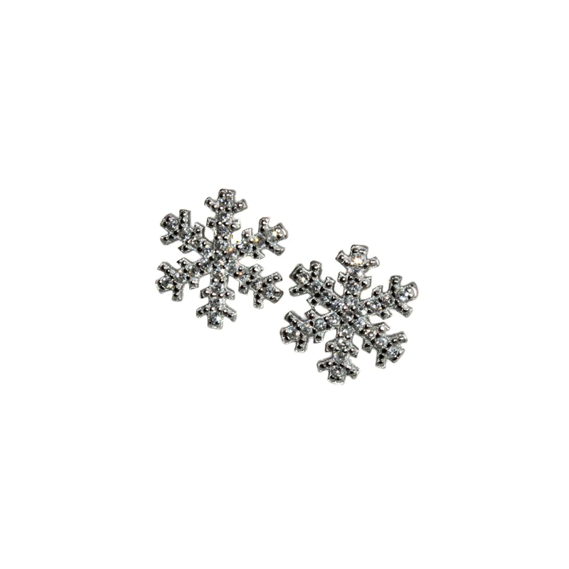 CZ Stone Snowflake Earrings