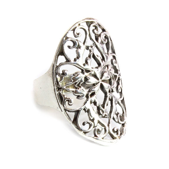 Sterling Silver Intricate Bohemian Accent Ring - Allyanna Gifts