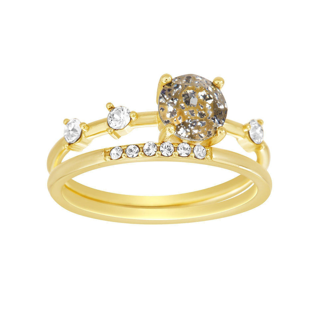 Gold Swarovski Crystal Ring Set
