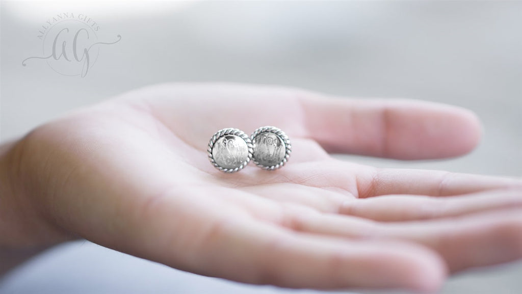 Sterling Silver Engravable Rope Earrings, Allyanna Gifts