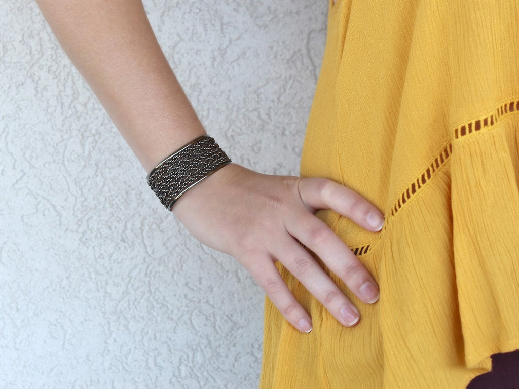 German Silver Woven Rope Chain Cuff Bracelet