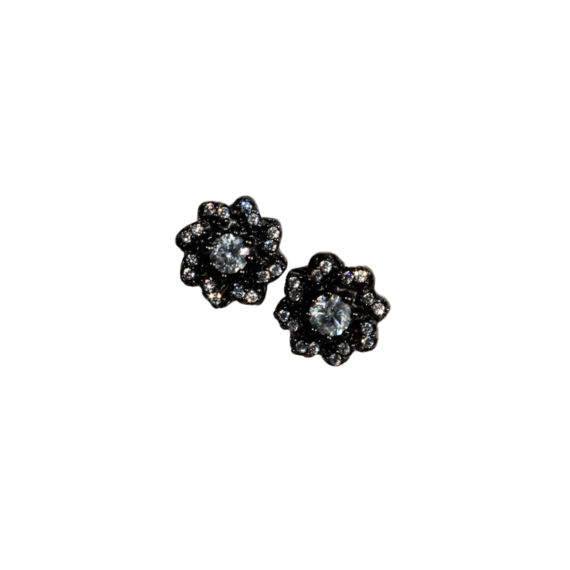 Black Flower Earrings - Allyanna Gifts