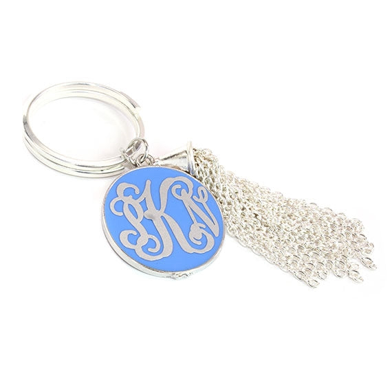 Baby Blue with Metal Tassel Key Chain