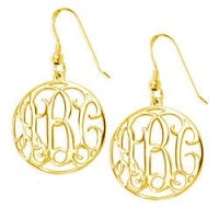Gold Plated Sterling Silver Encircled Monogram Earrings