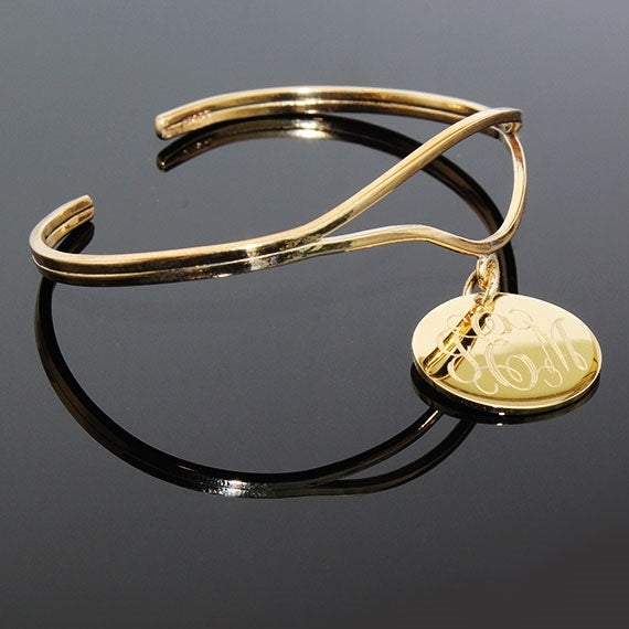 Elegant Engraved Curved Wire Bangle - Allyanna Gifts