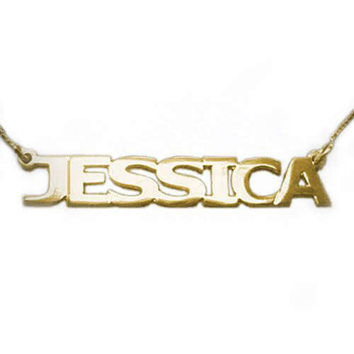 18k Gold Plated Capitalized Name Necklace