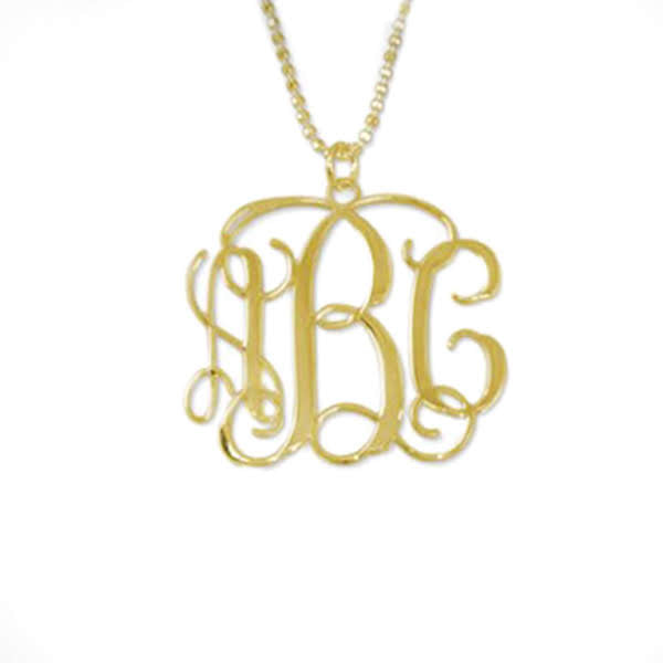 18K Gold Plated Sterling Silver Fancy Monogram Necklace - Allyanna Gifts