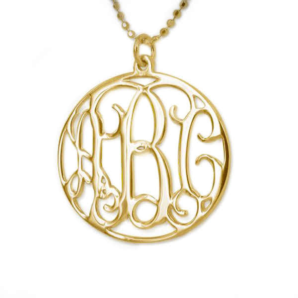 18K Gold Encircled Monogram Necklace