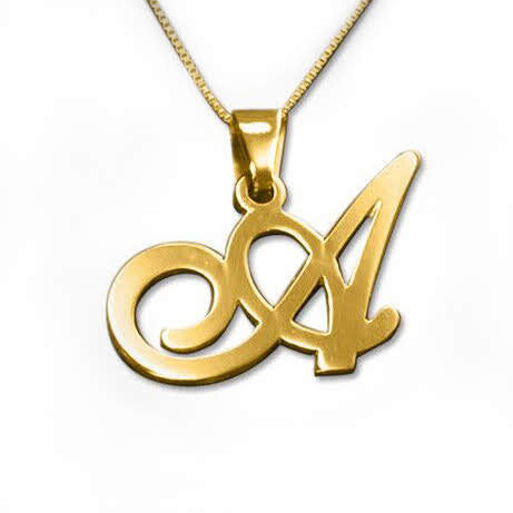 18k Gold-Plated Sterling Silver Initials Pendant-Any Letter!